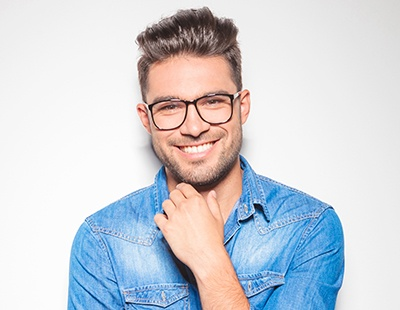 Man with porcelain veneers smiling